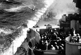 "USS ""Missouri"" hit off Okinawa, April 11, 1945"