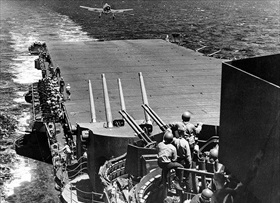 "Grumman Hellcat lands aboard the USS ""Lexington"""