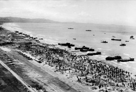 Aerial view of U.S. landing forces during Lingayen Gulf invasion, Luzon, January 1945
