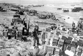 Lingayen Gulf landing beaches and supply dumps, Luzon, January 1945