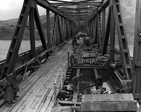 Ludendorff Bridge under repair, March 17, 1945