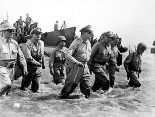 Battle of Leyte: Gen. Douglas MacArthur landing on Leyte Island, October 20, 1944