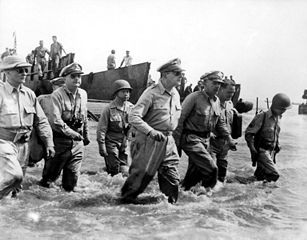 Gen. Douglas MacArthur landing on Leyte, October 20, 1944