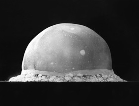 Manhattan Project: Trinity test mushroom, New Mexico, July 16, 1945