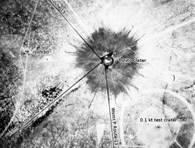 Manhattan Project: Aerial view of ground zero, New Mexico