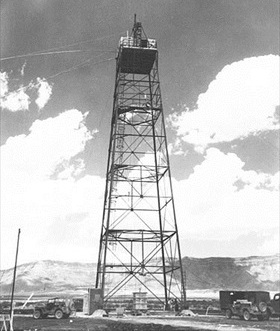 Manhattan Project: Trinity site test tower, New Mexico, July 1945