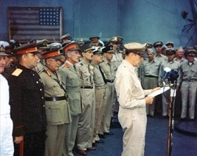 MacArthur opening surrender ceremony, September 2, 1945