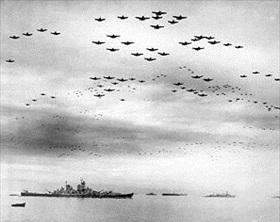 U.S. Navy flyover, September 2, 1945