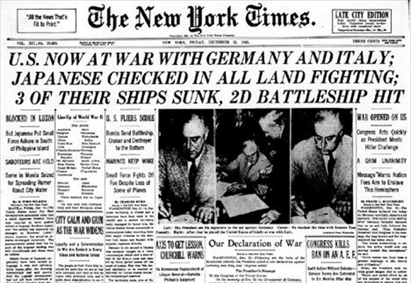 New York Times headlines, December 11, 1941