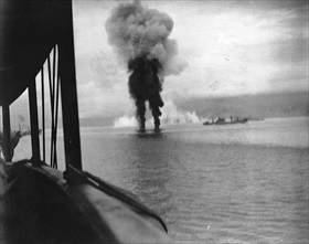 Japanese planes crash into the sea, November 12, 1942