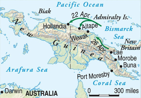 Map of New Guinea showing April 1944 amphibious landings at Hollandia and Aitape