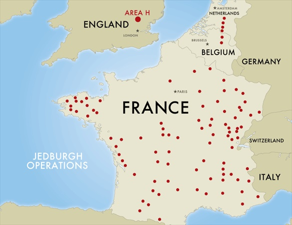 Operation Jedburgh: Map of insertion sites
