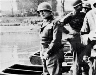 Patton relieving himself in Rhine, March 24, 1945