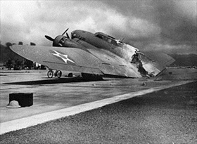 Hickam Field and destroyed B-17, December 7, 1941