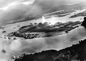 Japanese warplanes over Pearl Harbor, December 7, 1941