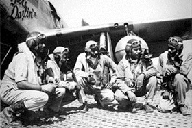 Tuskegee Airmen: 332nd Fighter Group pilots at Ramitelli Airfield, Italy