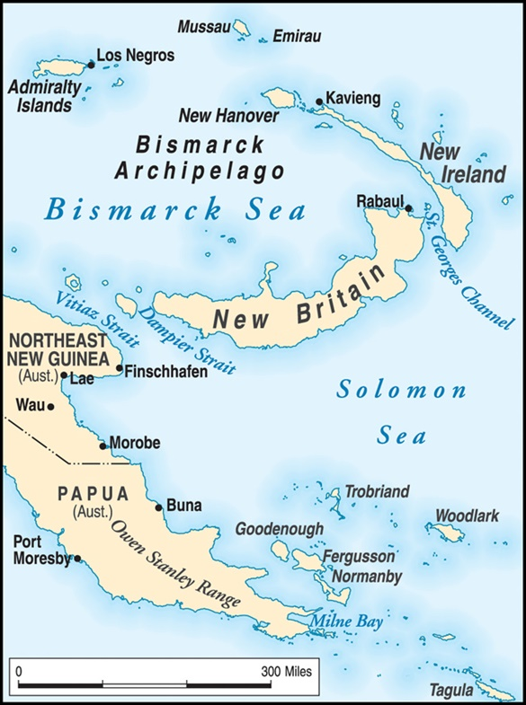 Battle of the Bismarck Sea: Map of Eastern New Guinea and New Britain