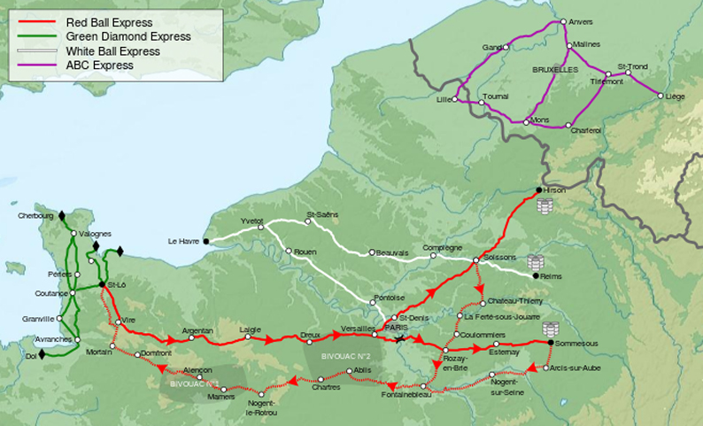 Red Ball Express and other truck convoy routes
