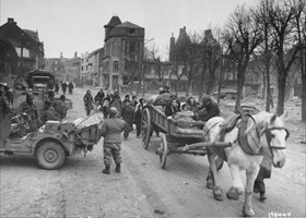 Battle of the Bulge: Civilians evacuating Bastogne, December 1944