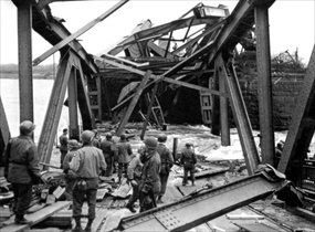 Ludendorff Bridge accident scene, March 17, 1945a