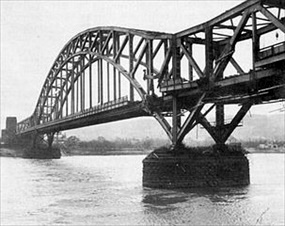 Damaged Ludendorff Bridge, March 1945