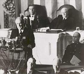 Roosevelt asking Congress for war against Japan, December 8, 1941