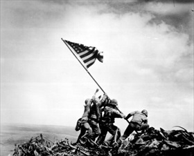 Joe Rosenthal's raising Stars and Stripes over Mt. Suribachi