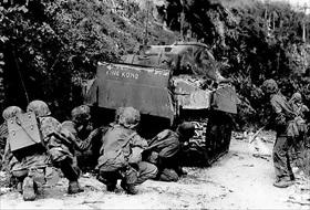 Marines and M4 Sherman, Saipan, July 8, 1944