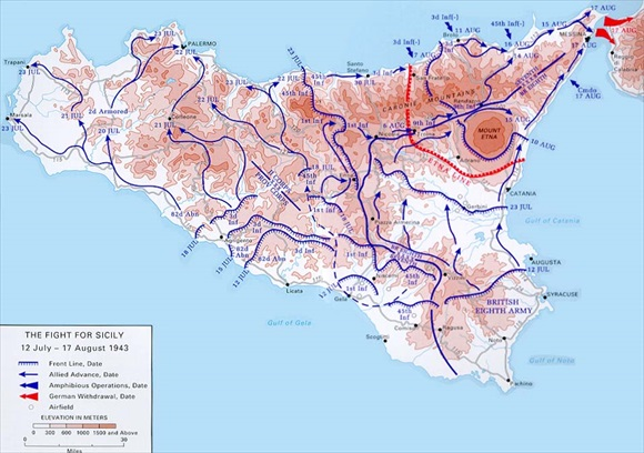 Operation Husky, the Sicily invasion map, 1943