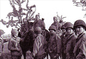 Handshake of Torgau: 69th Infantry Division patrol meets Soviet cavalrymen near Torgau, Germany