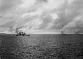 "Battle of Surigao Strait, October 25, 1944: ""Asagumo"" sinking"