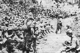 Japan invades Philippines: Bataan POWs following surrender, April 9, 1942
