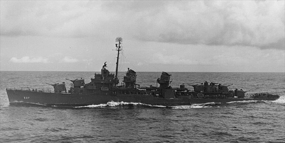 USS The Sullivans off Ponape, Micronesia, May 2, 1944