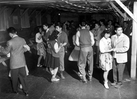 Japanese American internment: Young people's dance, Tule Lake, May 1943