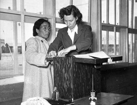 Japanese American internment: Finger printing at Tule Lake, September 1943