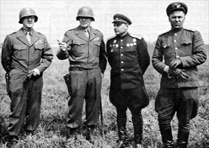 Handshake of Torgau: Two U.S., two Soviet officers at Torgau