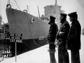 Three African American seamen serving on DE USS Mason, Boston, MA, March 1944
