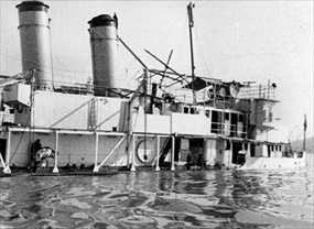 USS Panay partially submerged in Yangtze River after December 12, 1937 attack