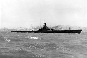 "USS ""Wahoo"" off Mare Island Navy Yard, California, July 1943"