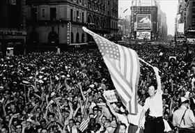 New York Times Square jubilation, V-J Day, August 14, 1945