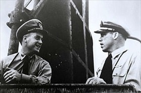 "Morton (left) and O'Kane on ""Wahoo"" bridge, February 1943"