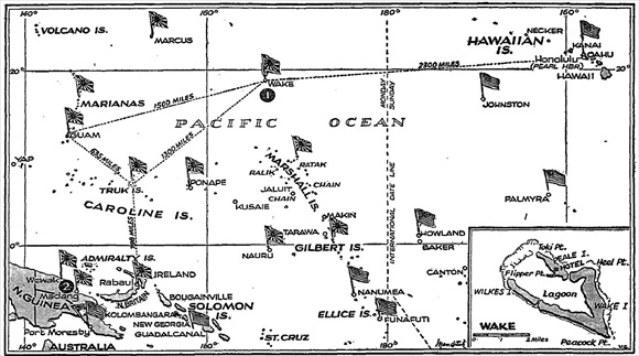 Map of the Pacific, circa early 1943, showing Wake Island