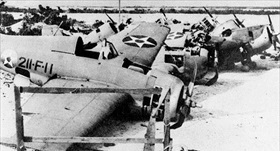 Destroyed F4F-3 Wildcat, Wake Island, December 1941
