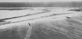 Beached Japanese Patrol Boats 32 (left) and 33, Wake Island, December 1941
