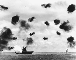 "Battle of Midway: U.S. ""Yorktown"" hit by Japanese torpedo, June 4, 1942"