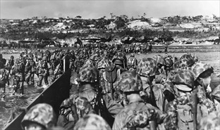 U.S. Marines establish a beachhead on Okinawa