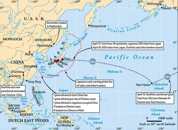 Doolittle Raid: Route of Doolittle Raiders, April 18, 1942