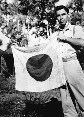 Cherokee Native American with Japanese flag, New Guinea, April 1, 1943