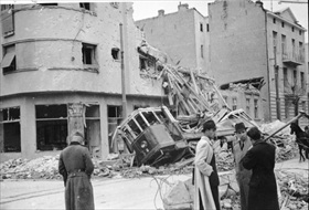 German military incursions in Europe: Damaged street in Belgrade, 1941