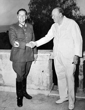Josip Broz Tito and Winston Churchill, Naples, Italy, 1944